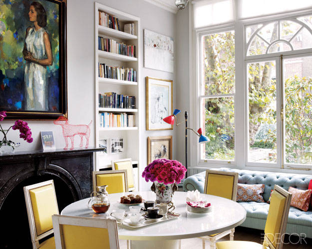 christine d'ornano, sisley executive and heir, front dining room, yellow leather chairs, in london home, elle decor,