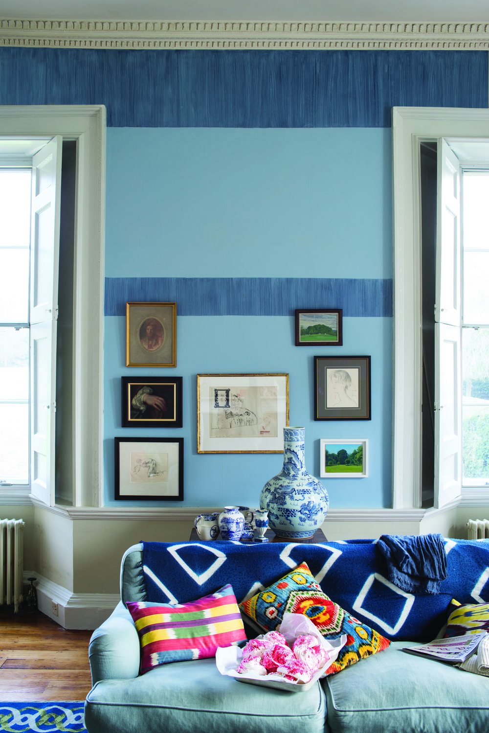 Pitch Blue and Lulworth Blue Living Room-1
