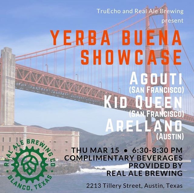Yerba Burns Show Case! Free SXSW! Kava Chillers! Come check it out!  BANDS: Agouti Kid Queen Arellano  Free Event All Ages  No tickets or badges necessary Complimentary kava from SquareRut and beer from Real Ale (21+) Outdoor venue on the East Side  Sponsors: Real Ale Brewing Co / SquareRut Kava Bar