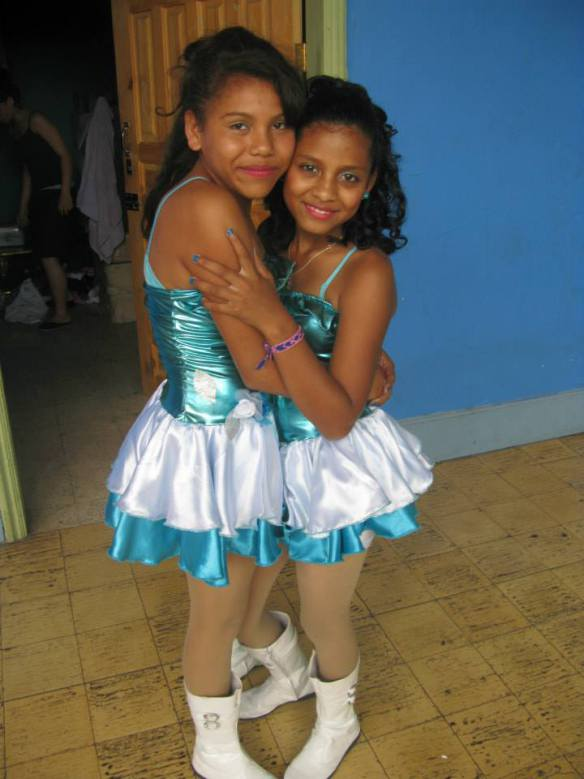 Nayeli (right) with Pamela following their school's Independence Day parade