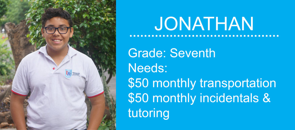 Click here to become a monthly partner for Jonathan.