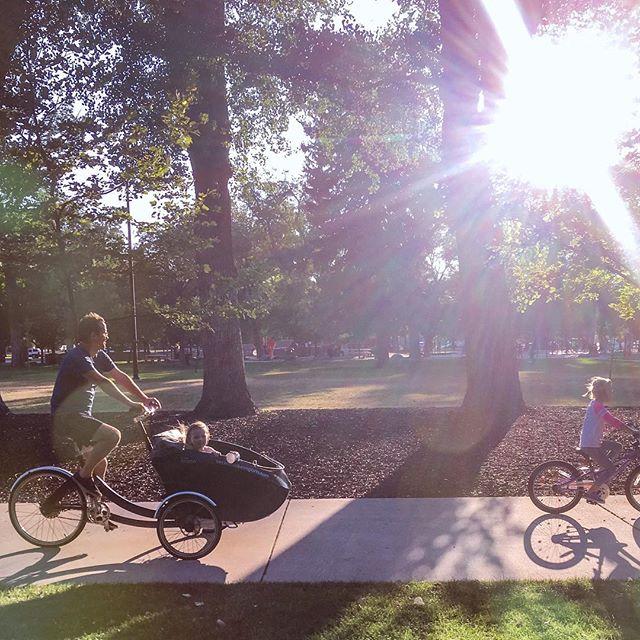 Perfect summer nights. #bikevecino #triobike #bikingwithkids