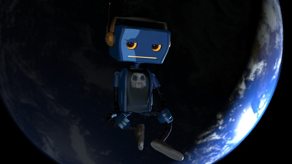 Blocking one of the shots of the Teaser.  Had to build a better earth today.  Fred's eye seem to track the camera so I have to build controls so he can look away.