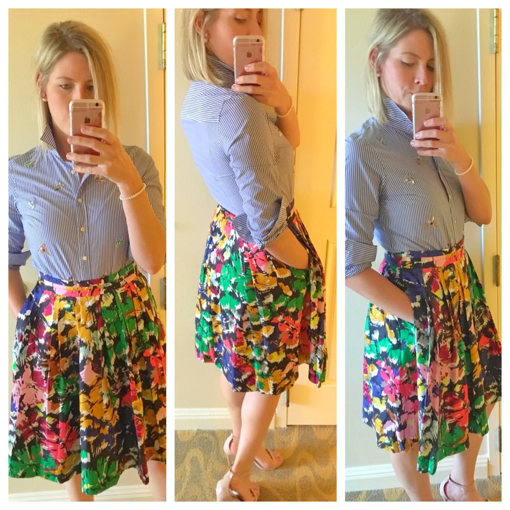 Stephanie wearing a J. Crew top and skirt (Fall 2016) with Payless Shoes and her own jewelry.