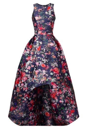 How amazing is this ML Floral Gown? The high-low cut gives it a nice sass that you can't always achieve from a full length gown. The floral print adds some feminine flair, but the darker tones give it more edge and less girly feels.