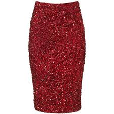 Parker NY Red Sequin Pencil Skirt