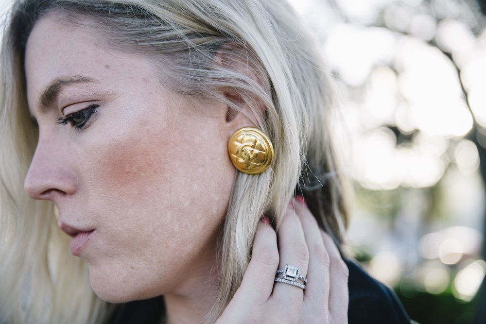 Just casually showing off these fancy earrings as if I can actually afford them. These are the clip on Chanel Quilted Logo Earrings.   Photo Credit: Kelly Martucci - Jacksonville, Florida