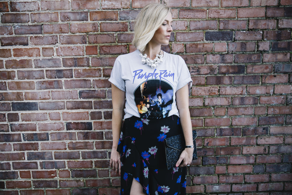 Graphic Tee and Floral Midi Skirt by fashion blogger Stephanie Mack of The Borrowed Babes fashion blog in Jacksonville, FL