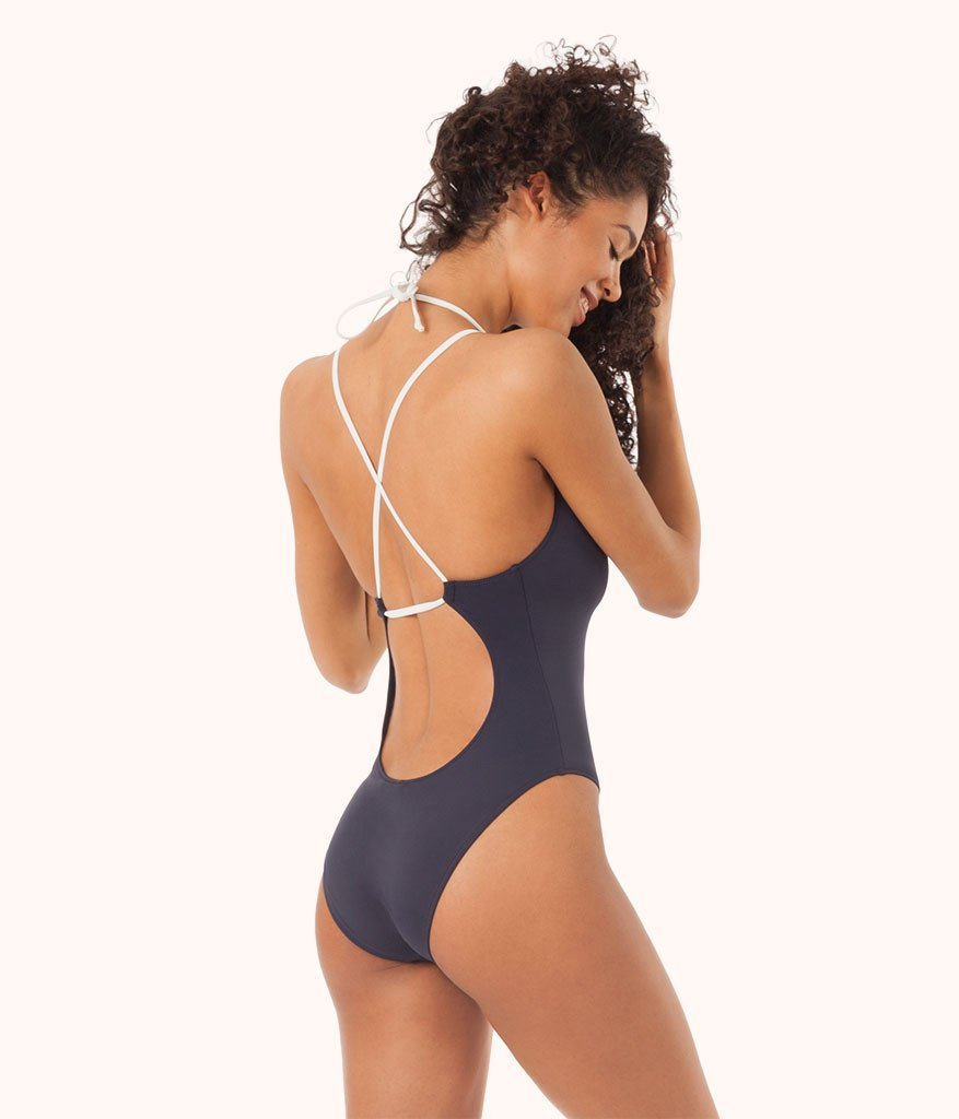 Plunge One Piece Swimsuit by Wear Lively |  | Leisuree lingerie featured by top US fashion blog, The Borrowed Babes