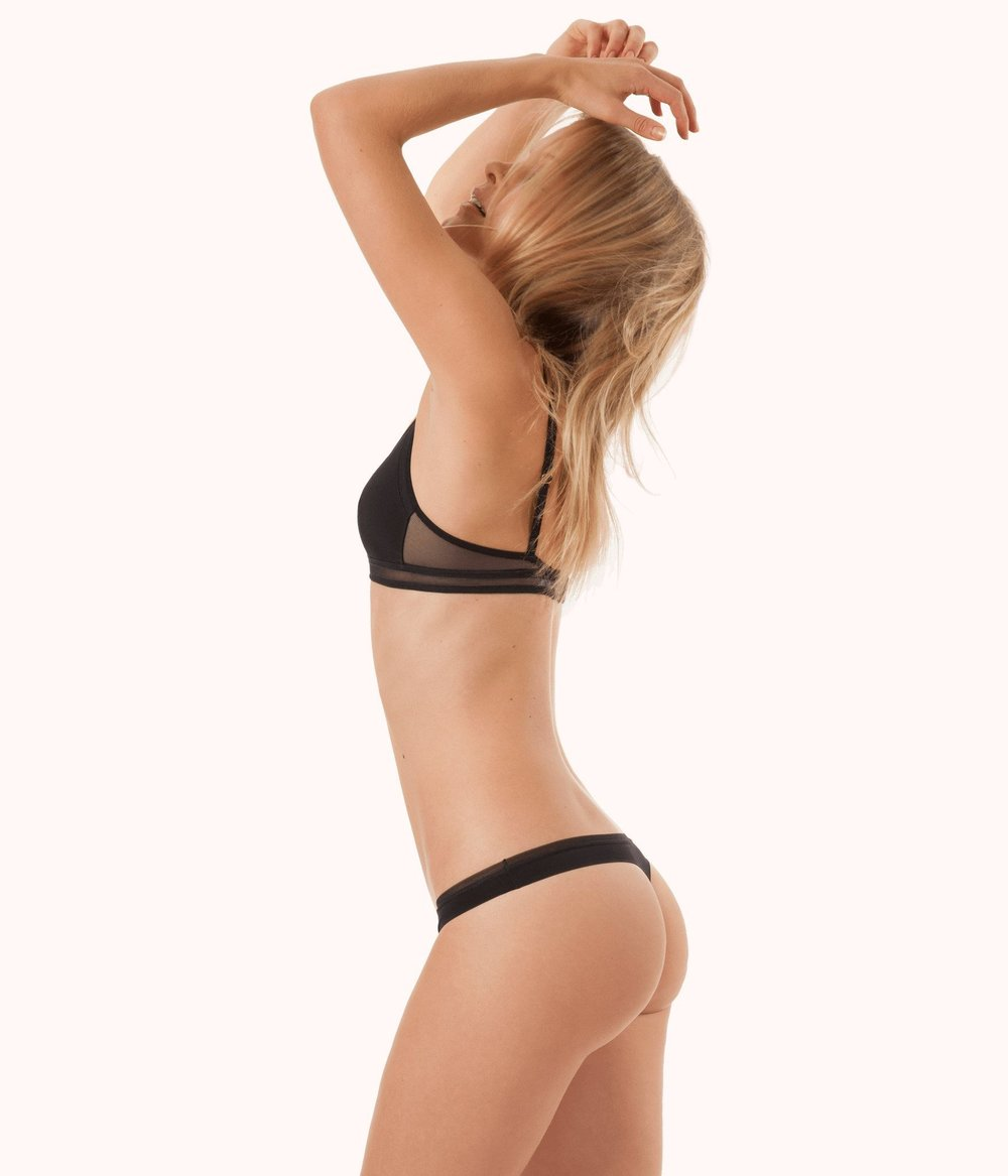 No Show Thong in Black Wear Lively |  | Leisuree lingerie featured by top US fashion blog, The Borrowed Babes