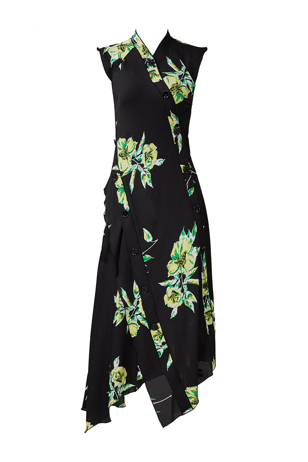 Black Floral Asymmetrical Hem Proenza Schouler Pansy Long Sleeve Dress from Rent the Runway | Top US fashion blog, The Borrowed Babes features the Best Spring Floral Dresses