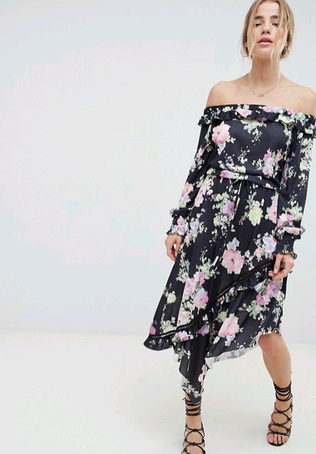 Asos Off the Shoulder Tea Dress  Proenza Schouler Pansy Long Sleeve Dress from Rent the Runway | Top US fashion blog, The Borrowed Babes features the Best Spring Floral Dresses