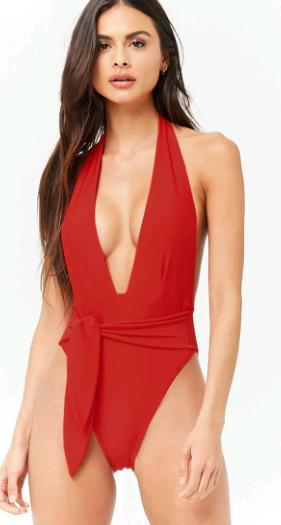 Plunging Neck One Piece Tie Waist Swim Suit