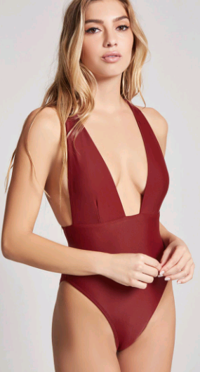 Forever 21 Plunge Neck One Piece Swim Suit