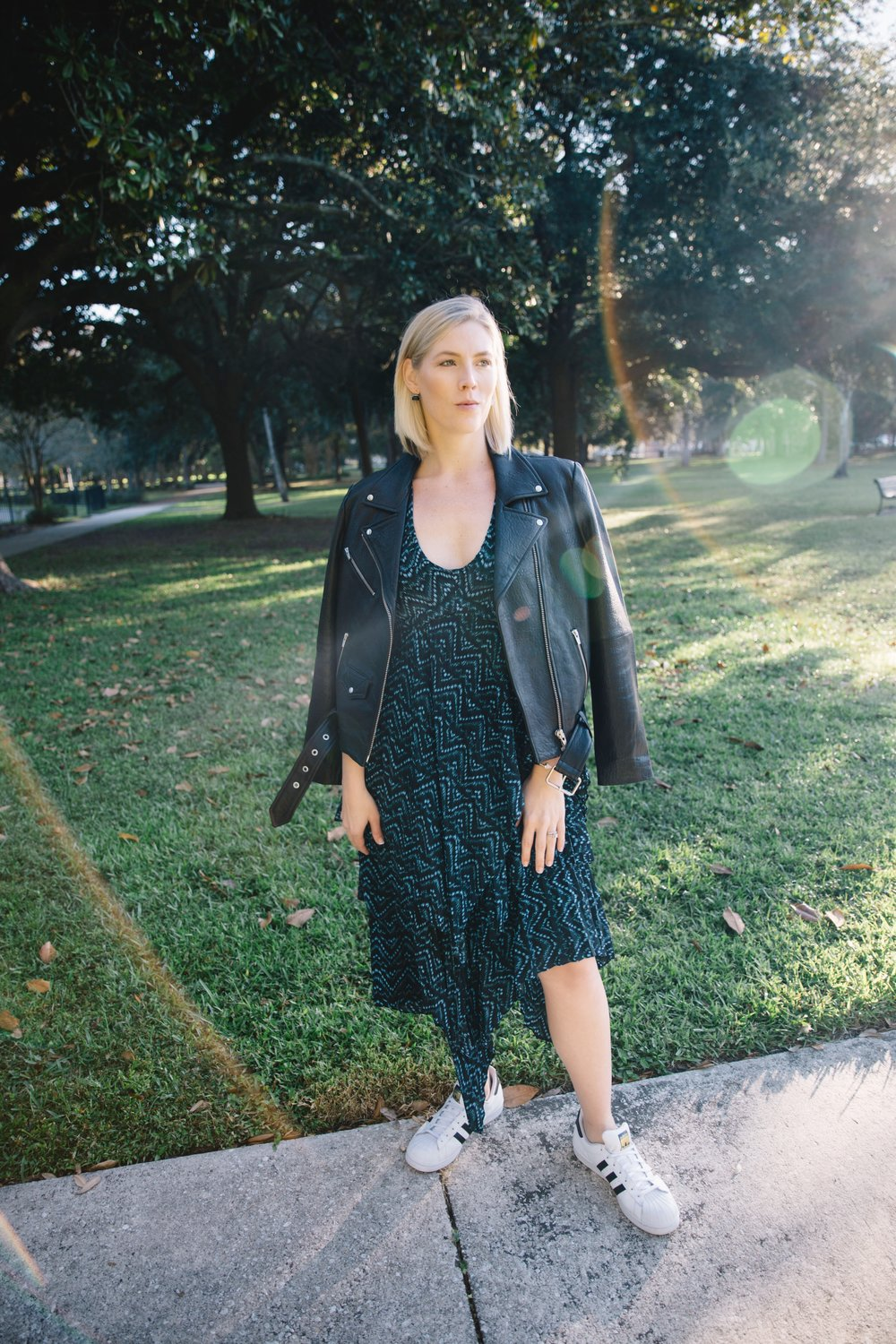 ALC Dress and Veda Jacket for Spring Style | What to Wear in Cold Spring Weather featured by top US fashion blog, The Borrowed Babes