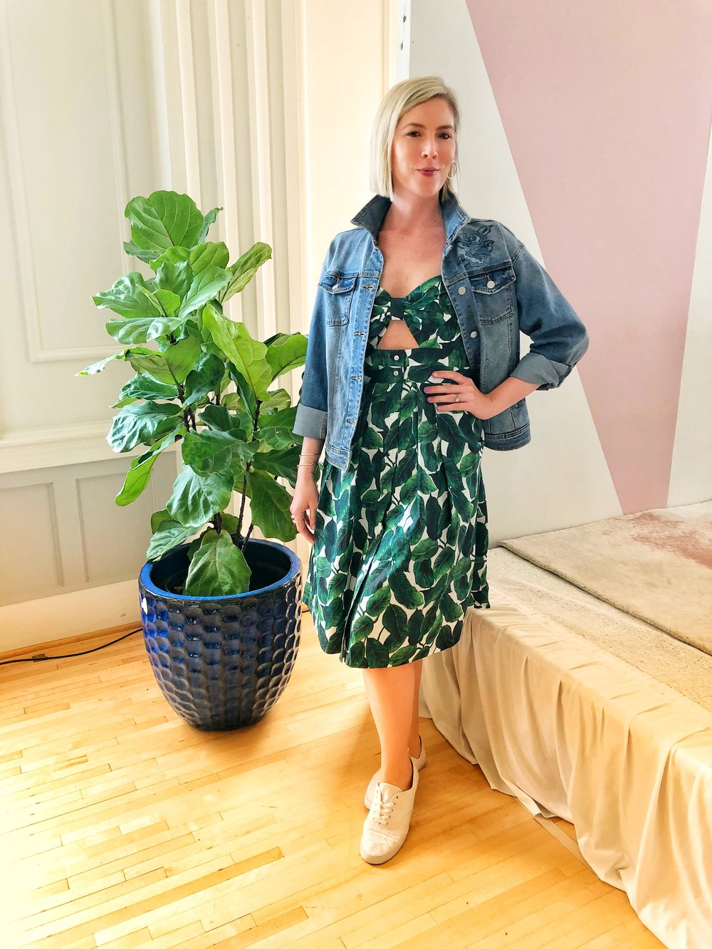 Milly Banana Leaf Dress from Rent the Runway on Fashion Blogger Stephanie Mack Kearney of The Borrowed Babes Fashion Blog.jpg