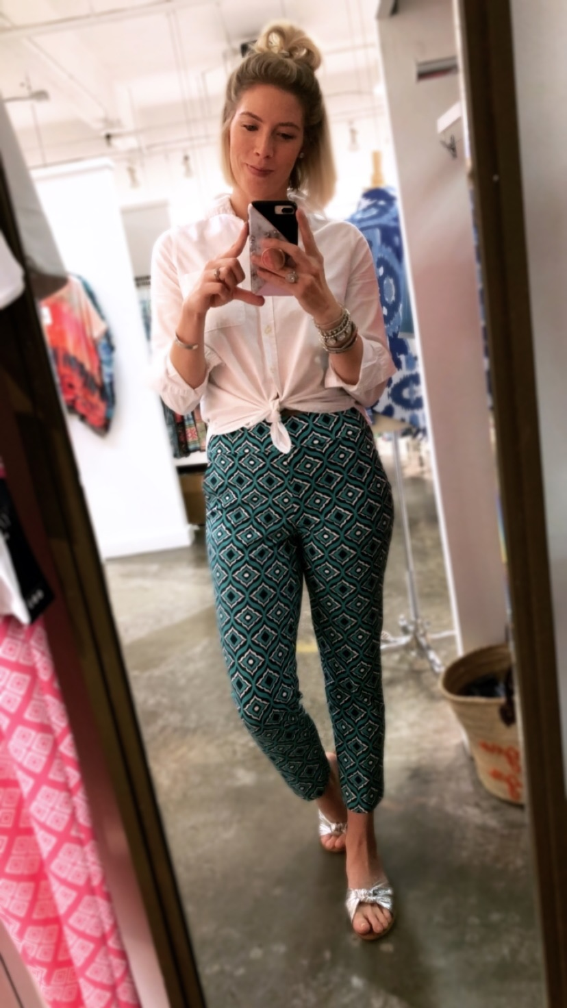 Panama Pant in Trevino Aqua Navy from The Katherine Way Resort 2018 October Collection worn by Fashion Blogger Stephanie Mack of The Borrowed Babes Fashion Blog
