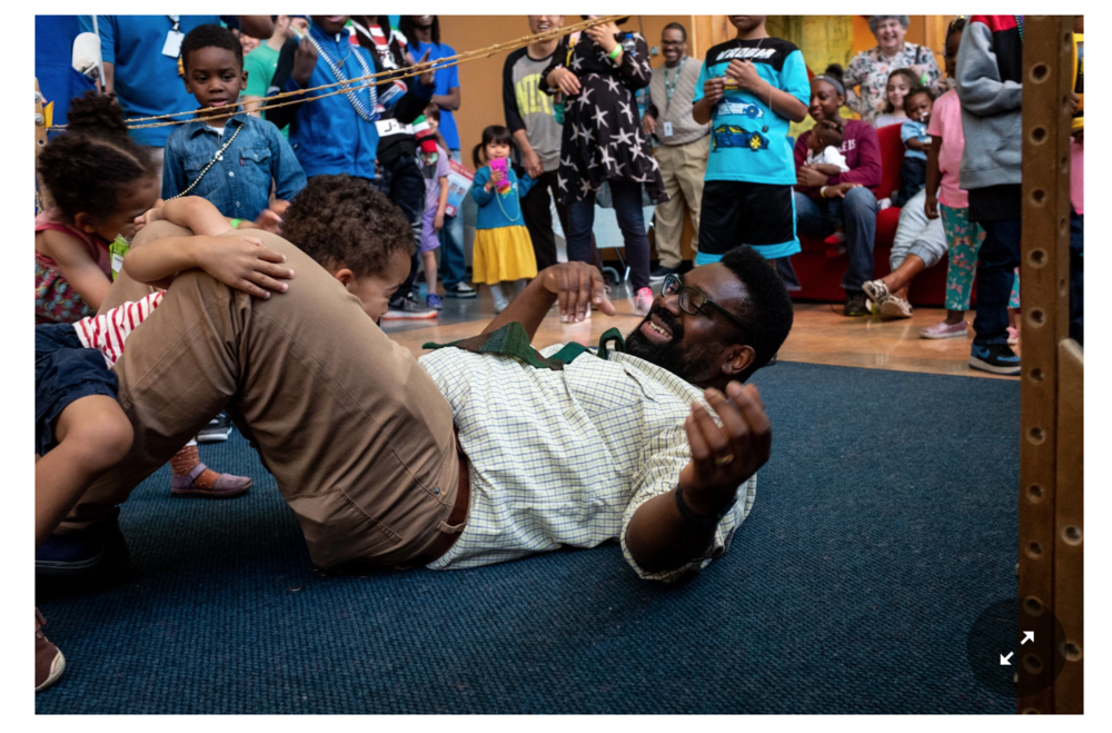 "The New York Times                                                                                                                                                                                                                         Saleem Hue Penny and his twin toddlers, Elsie and August, fall in a limbo contest at a ""PapaPalooza"" event June 3 at the Chicago Children's Museum, which he created after taking Dr. Garfield's class for fathers. CreditRachel Giannini   Read more:  https://www.nytimes.com/2018/06/14/well/from-a-pediatrician-lessons-for-dads-to-be.html"