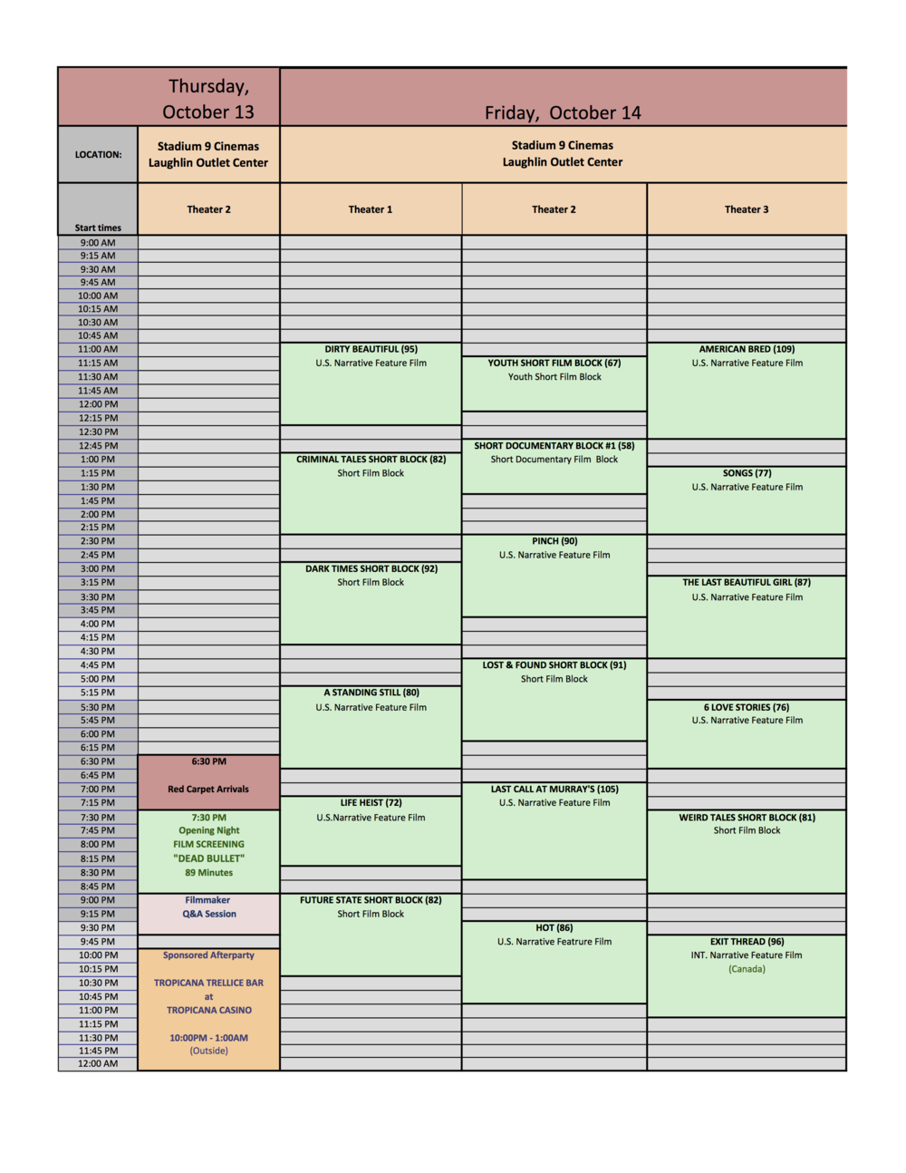 ALL FILMS - ALL DAYS - GRIDS SCHEDULE FORMAT