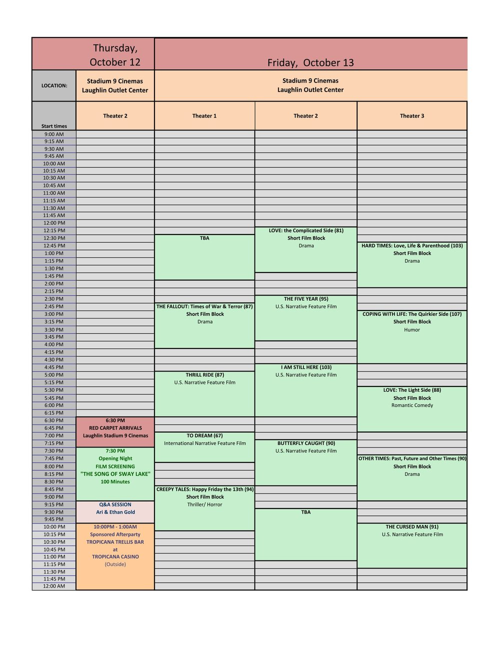 ALL FILMS - ALL DAYS - GRIDS SCHEDULE