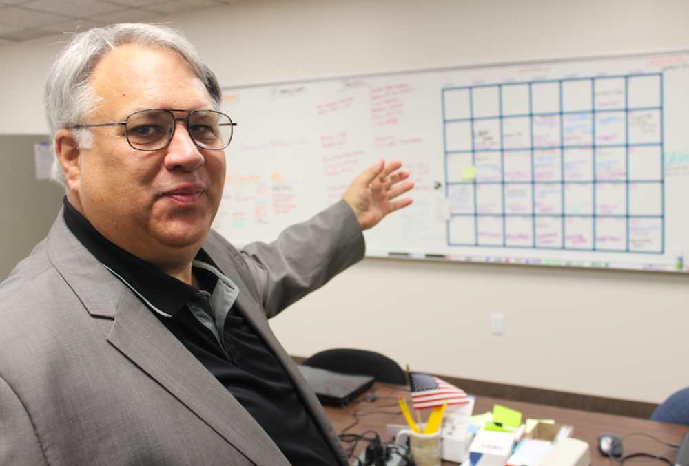 Founder Larry Boulier reviews the week's production schedule