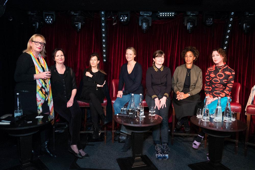 Moderator Louisa Buck and panellists Margot Heller, Maureen Paley, Cheyenne Westphal, Kate MacGarry, Melanie Keen and Valeria Napoleone