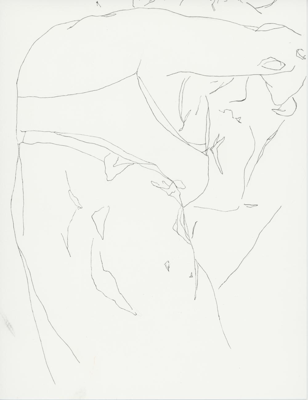 Falling   Ink pen on watercolor paper