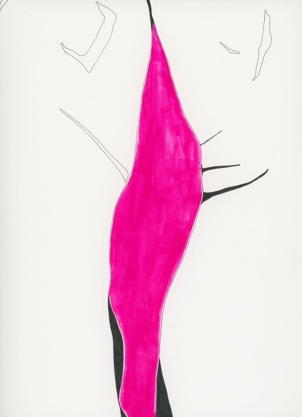 Pink Streak   Ink and gouache on paper