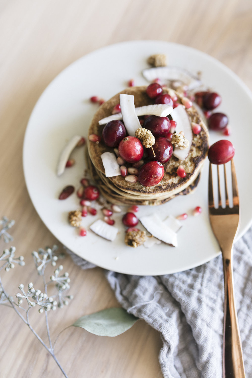 Pancakes are a delicious way to start the day. This recipe with garbanzo is a healthy, holiday inspired breakfast option