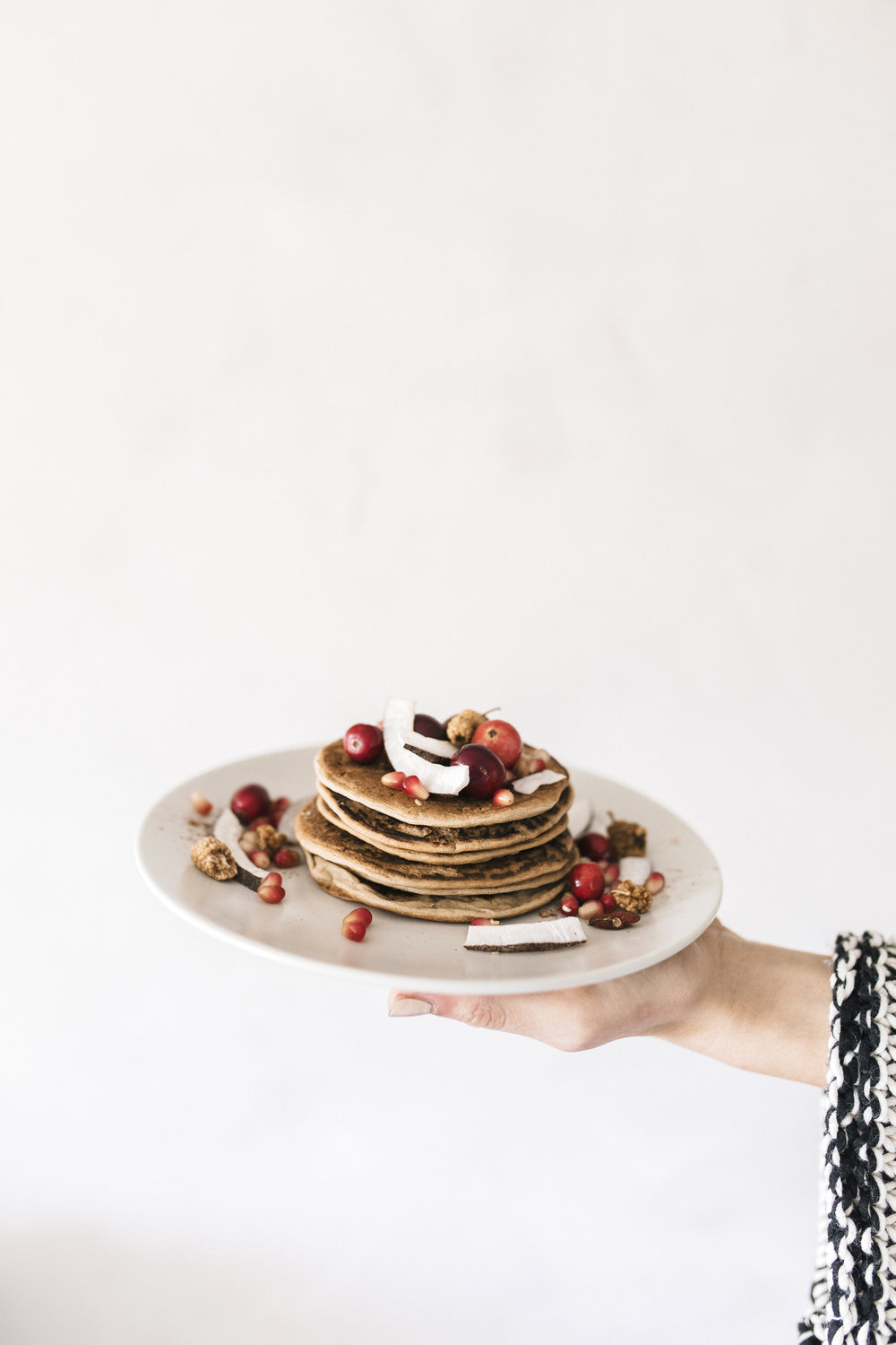Cranberry pancakes are a healthy way to bring Christmas into your home and morning routine