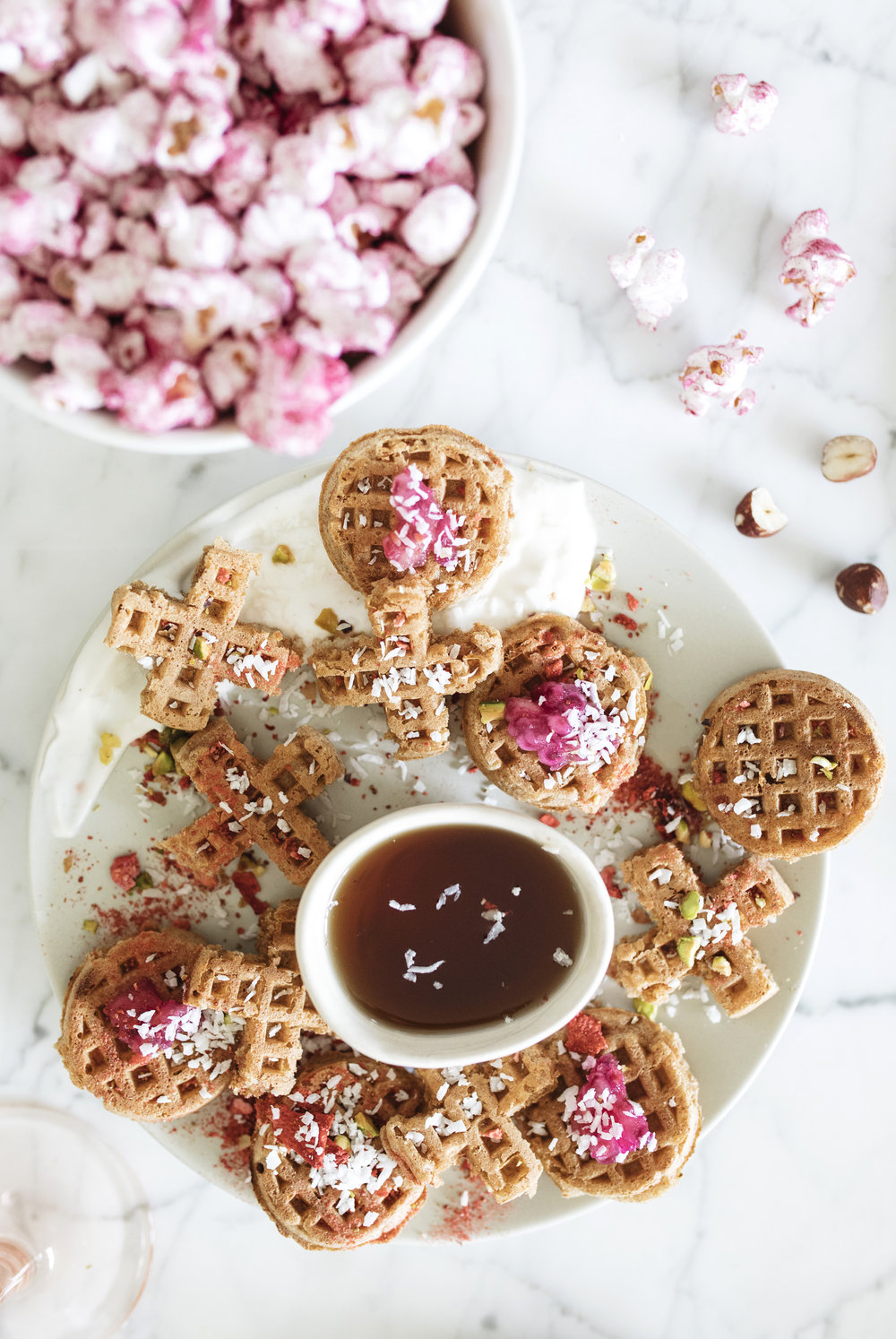 Waffles for a party! Mini waffles are one sweet and savory snack for galentines day brunch