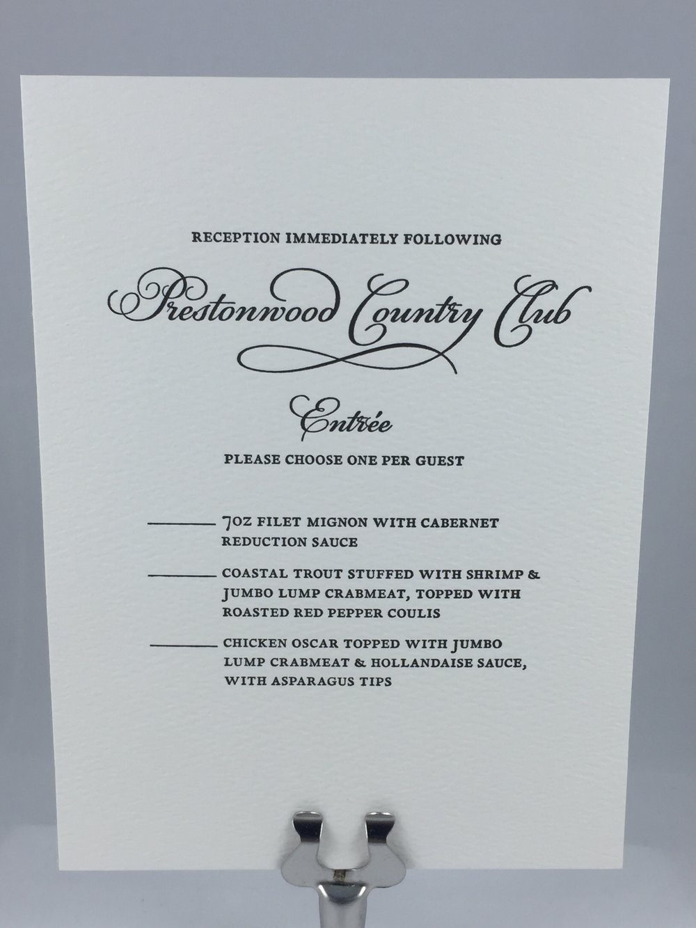 Wedding reception RSVP card