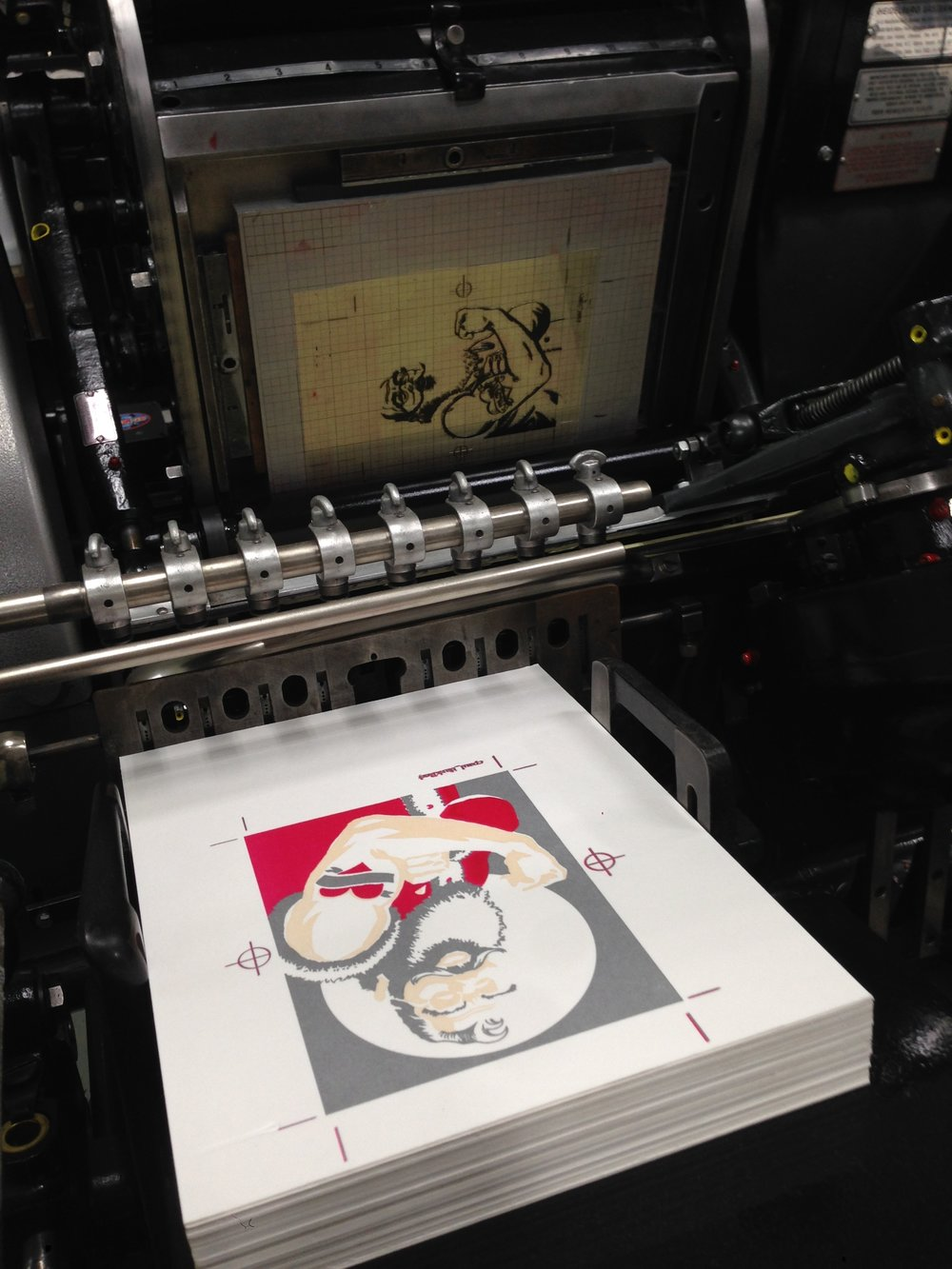 Santa holiday card on press