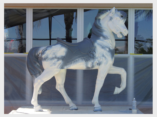 Then some white spray paint to have my magical white horse