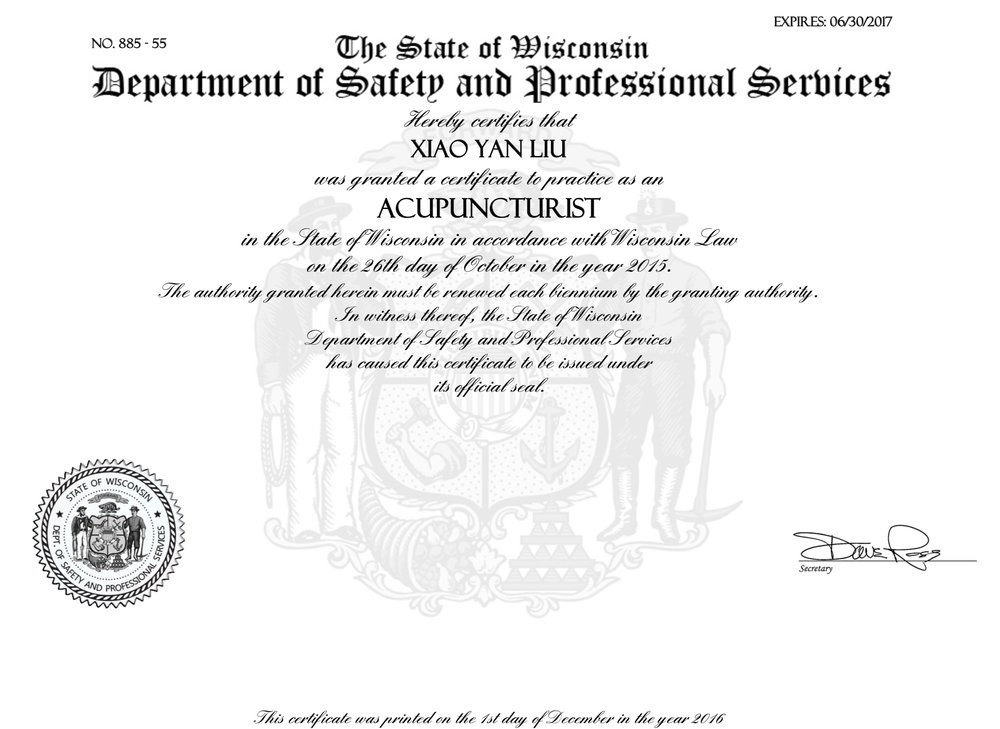 WI Acupuncturist License