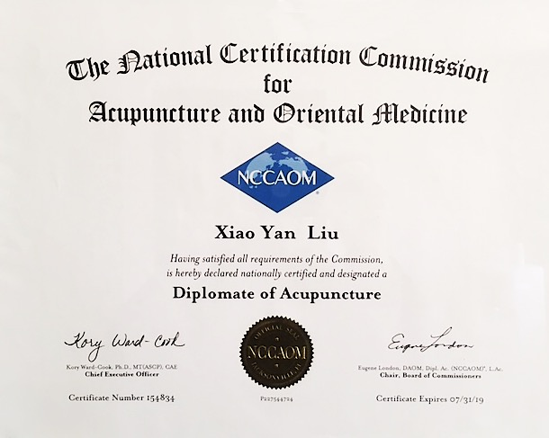 NCCAOM Diplomate of Acupuncturist   (U.S. professional governing board for acupuncturists)
