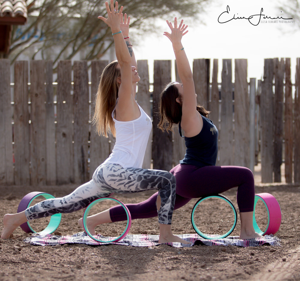 lunge with yoga wheel