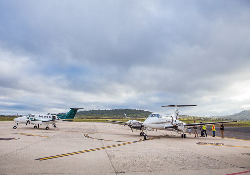 Air Charter Co-ordinators King Air on tarmac at Wellcamp Airport.