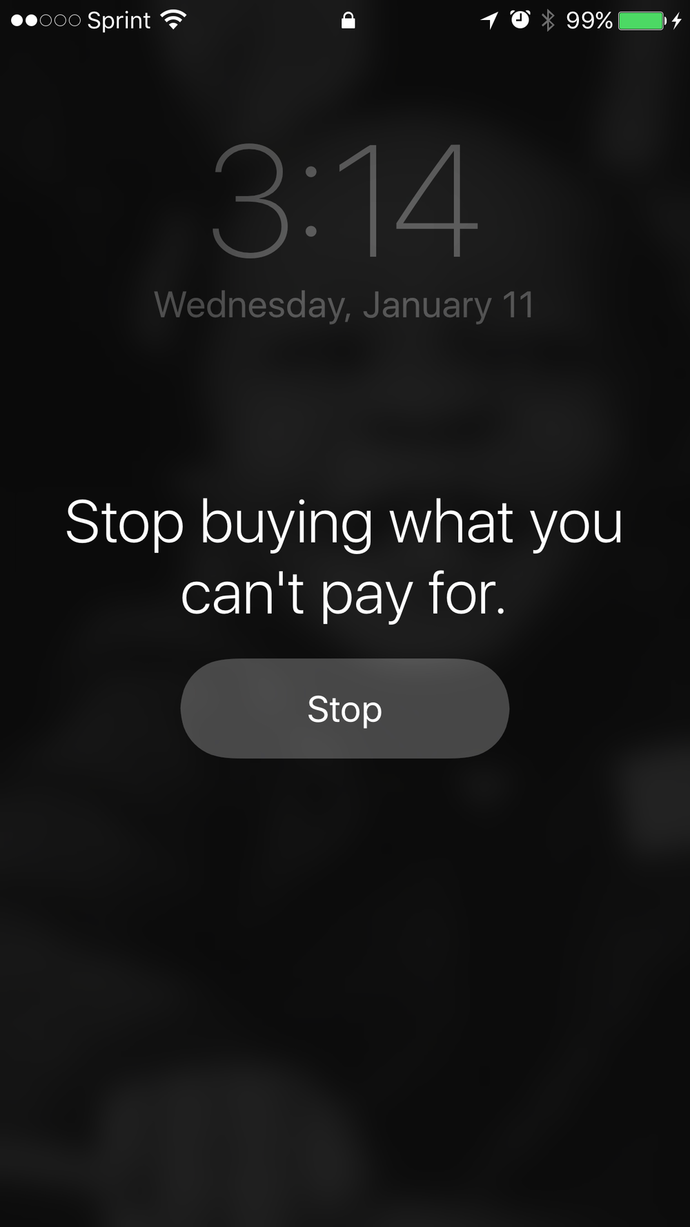 stop buying what you can't pay for