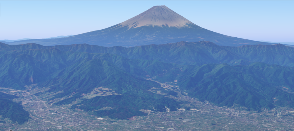 Mount Fuji looming over Kofu