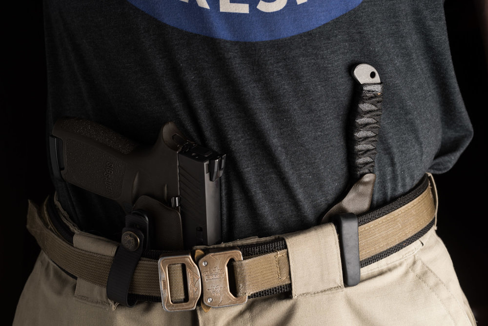 Sosby Blades Spike in VEIL Solutions IWB Sheath with Sig Sauer P320 and Jones Tactical Belt