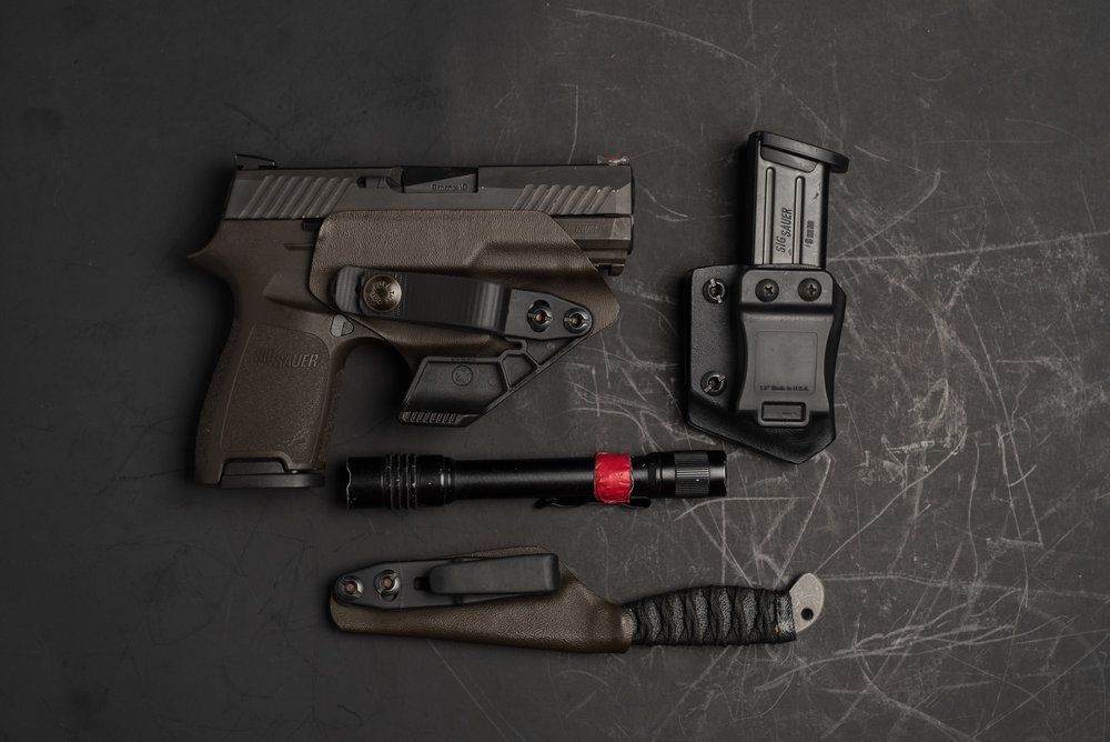 Sig Sauer P320, Veil Solutions Kydex, Streamlight ProTac and Sosby Blades Spike.