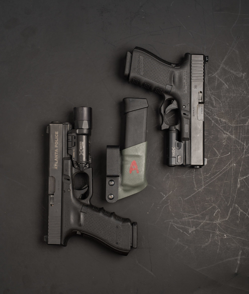 Glock 22 with Surefire X300U and Glock 19 with Surefire XC-1