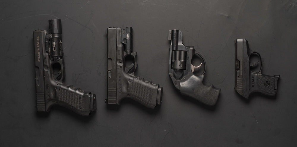Glock 22, Glock 19, Ruger LCR and Ruger LCP.