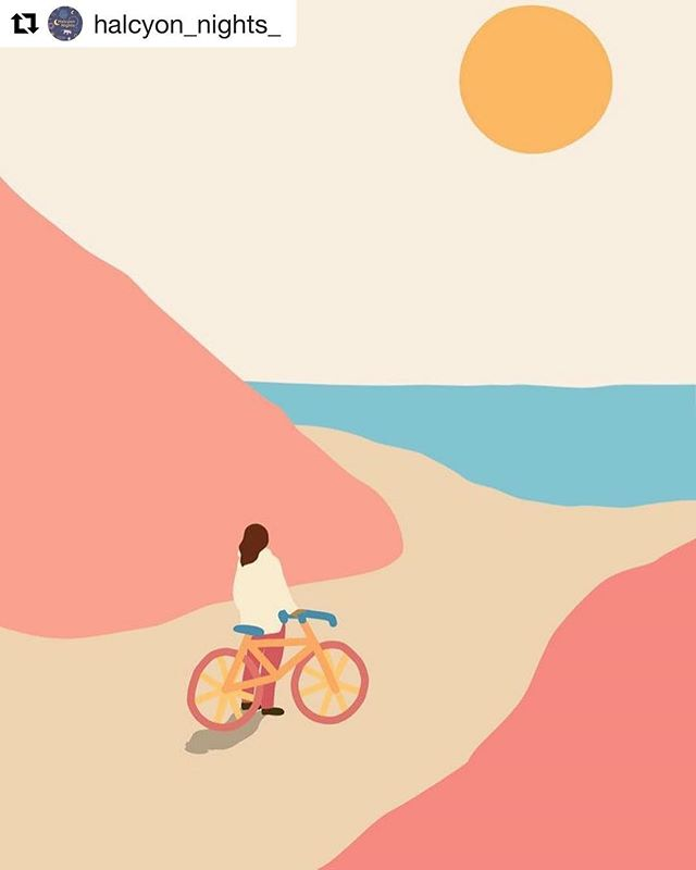 #Repost @halcyon_nights_ ・・・ Happy Weekend everyone 🌞🚲Quiet illustration found on Pinterest via Sophmore Mag