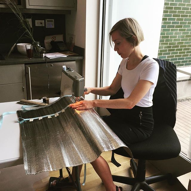 Every house collaborator Essi Kausalainen sewing materials for one of our final rehearsals while in residence @sector2337 for new work Scarecrow to premiere in 2018.
