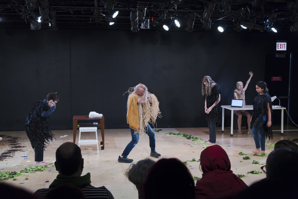 Photo by Hadley Austin, Formidable Entities   Scarecrow  in Chicago (2018). Pictured left to right: Lorenzo Borzutzky, Matthew Goulish, Poppy Booth, Essi Kausalainen, Leila R. Ashrafi
