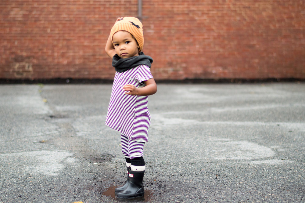 hat & socks:  tiny cottons  from  a gifted baby   scarf:  gray label  from  noble carriage   shirt & leggings:  oh my baby   shoes: hunter rainboots
