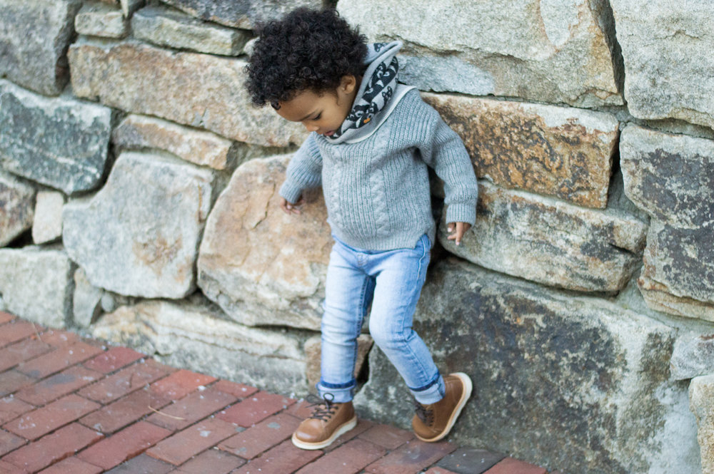 snood:  the bonnie mob   sweater:  oh my baby   pants:  beau hudson   shoes: young soles from  munchkin et moi