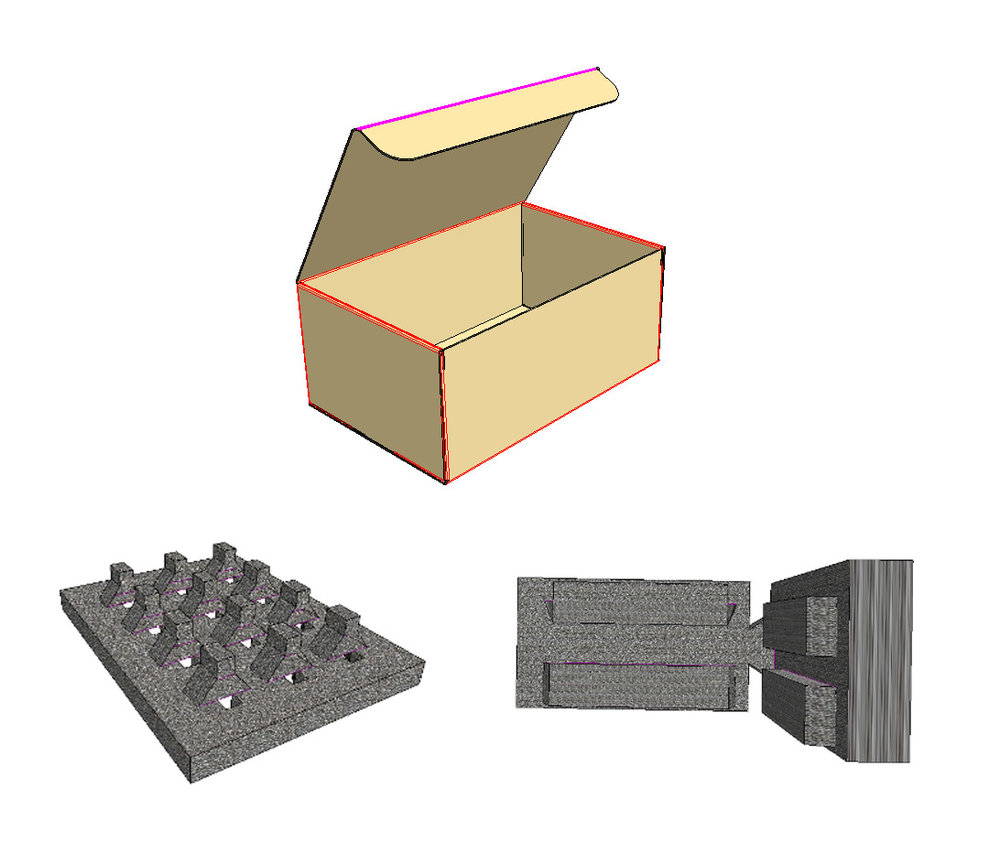 - Fill Box with foam & product and tuck top closed.